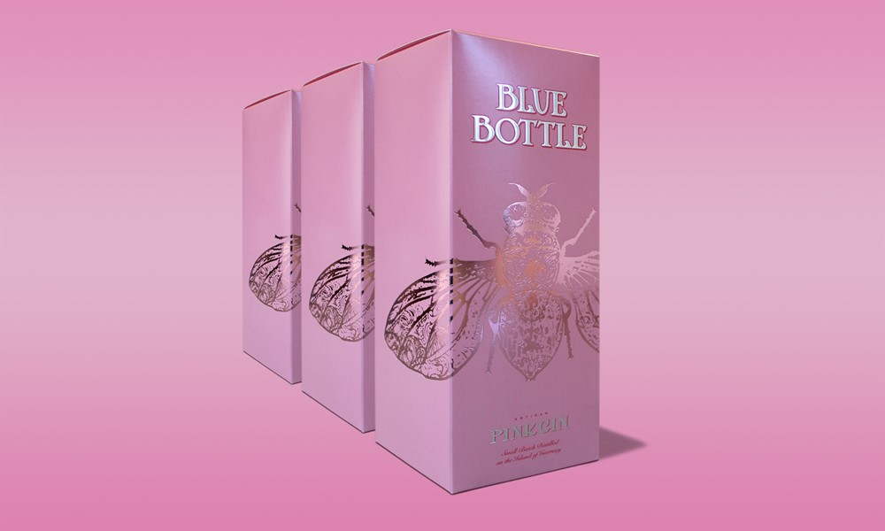 Blue Bottle Pink Gin Packaging